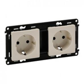 Double socket Valena Life - German standard - prewired - 16 A 250 V~ - ivory