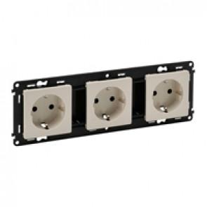 Triple socket Valena Life - German standard - prewired - 16 A 250 V~ - ivory