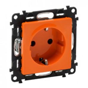 2P+E socket with shutters Valena Life - orange - German standard - 16 A 250 V~