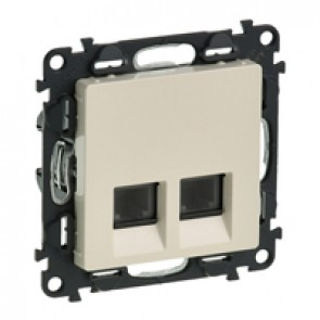 Double RJ 11 telephone socket Valena Life - with cover plate - ivory