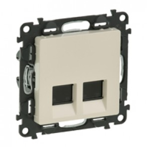 Double RJ 45 socket Valena Life - category 6 STP - with cover plate - ivory