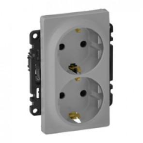 Double socket Valena Life - German standard - VDE compliant - 16 A 250 V~ - alu