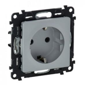2P+E socket Valena Life - automatic terminals - German standard - 16 A 250 V~ - alu