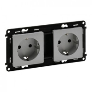 Double socket Valena Life - German standard - prewired - 16 A 250 V~ - alu