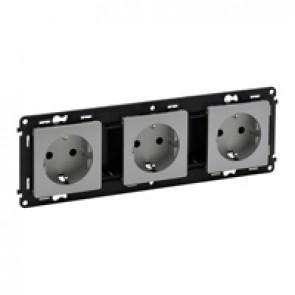 Triple socket Valena Life - German standard - prewired - 16 A 250 V~ - alu