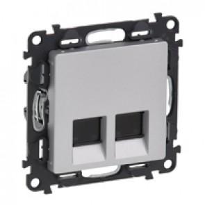 Double RJ 45 socket Valena Life - category 6 UTP - with cover plate - aluminium
