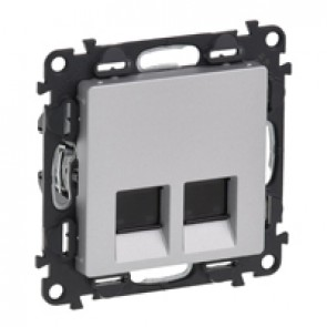 Double RJ 45 socket Valena Life - category 6 STP - with cover plate - aluminium