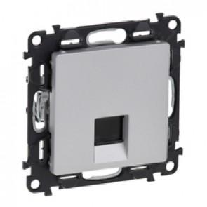 RJ 45 socket Valena Life - category 5e FTP - with cover plate - aluminium