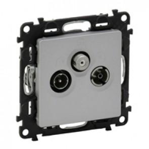 TV-R-SAT passthrough socket Valena Life - attenuation 14 dB French - aluminium