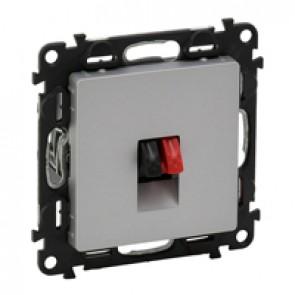 Loudspeaker socket Valena Life - with cover plate - aluminium
