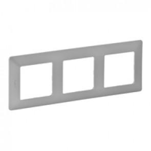 Plate Valena Life - 3 gang - aluminium