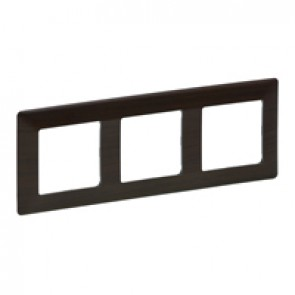 Plate Valena Life - 3 gang - dark wood