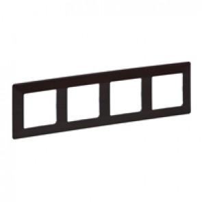 Plate Valena Life - 4 gang - dark wood