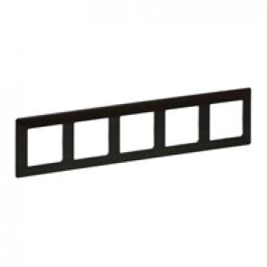 Plate Valena Life - 5 gang - dark wood