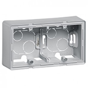 2-gang surface-mounting box Valena Life - 160 x 89 x 44.8 mm - aluminium
