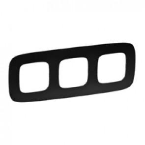 Plate Valena Allure - 3 gang - matt black