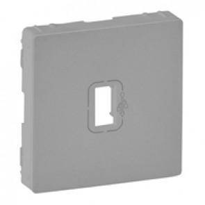 Cover plate Valena Life - preconnected female USB socket - aluminium