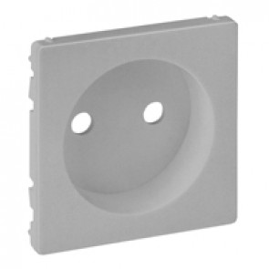 Cover plate Valena Life - 2P socket with shutters - automatic terminals - alu