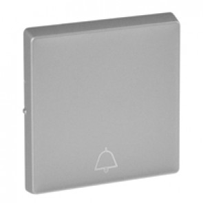 Cover plate Valena Life - push-button - bell symbol - aluminium