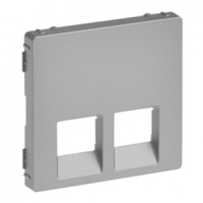 Cover plate Valena Life - double RJ 45/RJ 11 or RJ 45 + RJ 11 socket - aluminium
