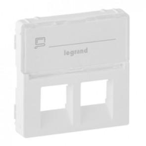 Cover plate Valena Life -double RJ45/RJ45+RJ11 socket -with label holder -white