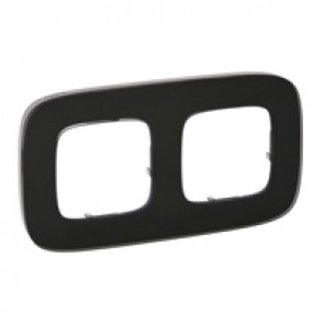 Plate Valena Allure - 2 gang - black glass