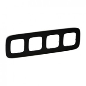 Plate Valena Allure - 4 gang - black glass