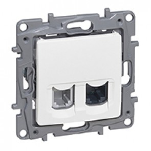 RJ 11 + RJ 45 Cat.5 UTP socket Niloé - white