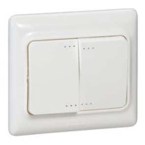 Double one-way switch Kaptika- flush mounting - 10 AX 250 V~ - white