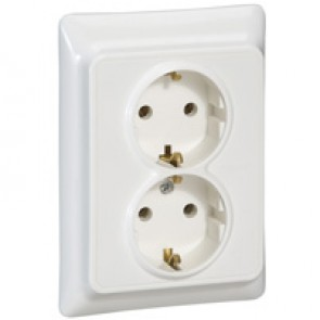 2 x 2P+E German standard socket outlet Kaptika -flush mounting- 16 A 250 V~ -white