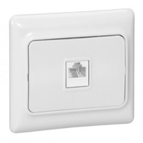 RJ 11 telephone socket Kaptika - flush mounting - white