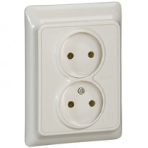 2 x 2P socket outlet Kaptika - flush mounting - 16 A 250 V~ - ivory