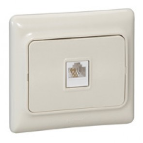 RJ 11 telephone socket Kaptika - flush mounting - ivory