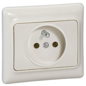2P+E French standard socket outlet Kaptika - flush mounting - 16 A 250 V~ - ivory