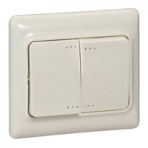 Double two-way switch Kaptika- flush mounting - 10 AX 250 V~ - ivory