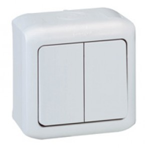 2 gang one-way switch Forix - surface mounting - 10 AX 250 V~ - white