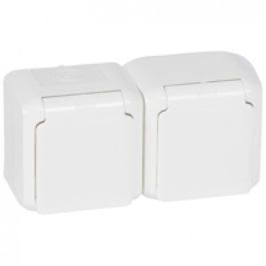 2 x 2P+E German standard socket outlet Forix -surface mounting - 16 A 250 V~ -white