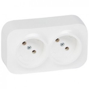 2 x 2P socket outlet Forix - surface mounting - IP2X - 16 A 250 V~ - white