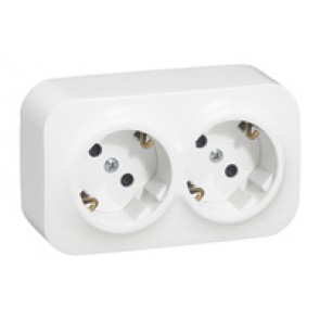 German standard socket 2 x 2P+E Forix - surface mounting - IP2X - 16 A 250 V~ -white