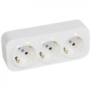 German standard socket 3 x 2P+E Forix - with shutters - IP2X - 16 A 250 V~ - white