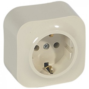 German standard socket 2P+E Forix - surface mounting - IP2X - 16 A 250 V~ - ivory