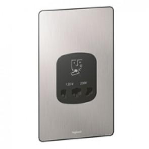 Shaver socket Synergy - 230-120 V - 50/60 Hz - Sleek Design brushed stainless steel