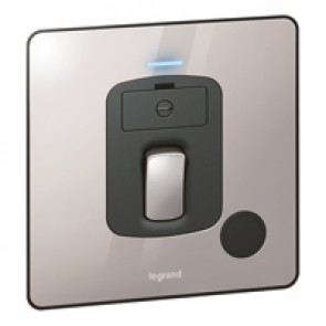 Fused connect unit Synergy -Double pole switch+LED+cord -13 A-250 V~ Sleek Design polished stainless steel