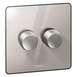 Rotary dimmer Synergy - 2 gang - 2 way - Sleek Design polished stainless steel