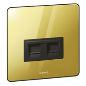 RJ 45 category 6 socket Synergy - twin - Sleek Design glossy gold