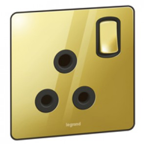 British standard Synergy -1 gang switch -15 A -250 V~ Sleek Design glossy gold