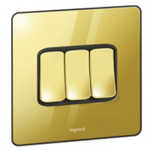 Single Pole plate switch Synergy -3 gang -2-way -20 AX -250 V~ Sleek Design glossy gold