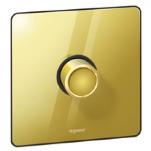 Rotary dimmer Synergy - 1 gang - 2 way push switch - Sleek Design glossy gold