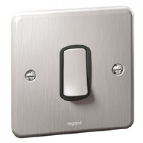 Plate switch Synergy -1 gang -1 way -10 AX -250 V~ - Authentic brushed stainless steel
