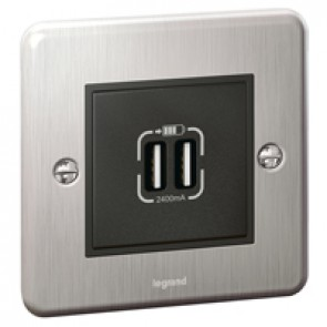 British standard double USB socket Synergy - Authentic brushed stainless steel